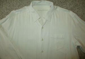 Tommy Bahama Silk Shirt Mens XL Long Sleeves Pocket MINT! Ivory Cream White