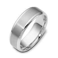 SOLID 18K WHITE GOLD MENS WEDDING BANDS WEDDING RINGS FOR MENS 7MM SATIN FINISH