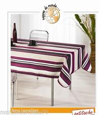 Nappe Ovale anti tâches 150x240cm New Bayadere Prune 100% polyester 385183