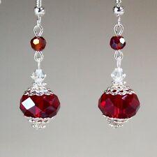Deep red crystal vintage silver drop dangle earrings wedding bridesmaid gift