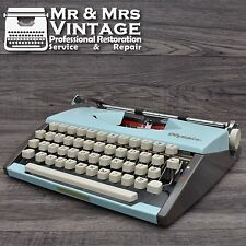 Serviced Olympia SF BLUE portable typewriter working black red ribbon rare