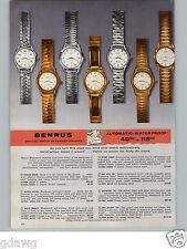 1956 PAPER AD 4 PG Benrus Wrist Watch Sky Ace Cavalier Major Auto Prince Chief