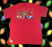 New Peanuts Charlie Brown Snoopy Motorcycle Caroling Christmas Mens T-Shirt