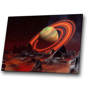Fantasy Sci-fi Solar Planet Red Landscape Canvas Wall Art Large Picture Prints