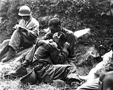 New 8x10 Korean War Photo: Soldier Comforts Grief-Stricken American Infantryman