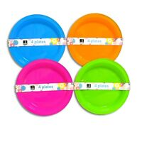 Pack Of 4 Re-Usable Plastic Plates Parties, Picnics BBQ's Outdoor Travel pack