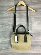 NEXT BROWN CREAM FAUX FUR SHEEPSKIN LEATHER SUEDE HAND CROSS BODY BAG 9384