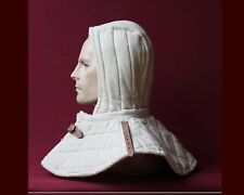 Medieval Renaissance padded Arming cap Collar Head Neck Cotton Black SCA