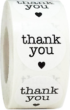 White Circle with Black Thank You Stickers, 1 Inch Round, 500 Labels on a Roll