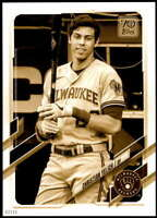 Christian Yelich 2021 Topps 5x7 Variation Short Prints Gold #100 /10 Brewers