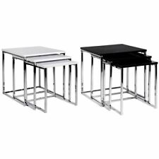 Aztec Nest Of Tables 3 Set Unit Black White Chrome Hallway Lamp Square Top Gloss
