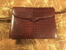 NANCY GONZALEZ Red-Brown Crocodile Clutch Handbag w/ Strap-Celebrity-Owned $4000