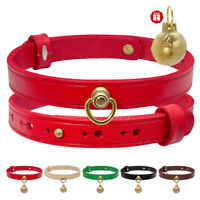 Soft Genuine Leather Pet Dog Collars Brass D-ring Bell Red Green Brown Black S M