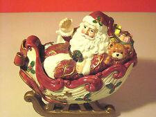 "Vintage Fitz & Floyd ""Kris Kringle"" Santa'S Sleigh Candy Jar & Lid 1993"