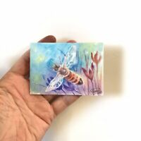 ACEO Original painting Honeybee Art Bee listed by artist Artettina collectible