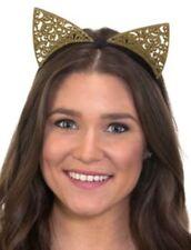Jhats Cat Ears Headband Gold Glitter Filigree