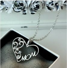 """""""Mom"""" Crystal Pendant Necklace Wholesale Resale lot of 10"""