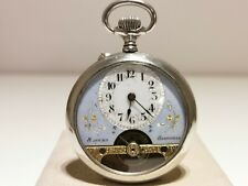 """ANTIQUE RARE BEAUTIFUL MEN'S POCKET 8 DAYS WATCH """"HEBDOMAS""""/BLUE AND WHITE DIAL"""