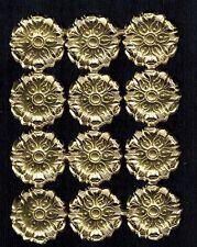 ROSETTES MEDALLIIION SMALL GOLD ORNATE DOZEN ORNAMENT DRESDEN PAPER GERMAN ART