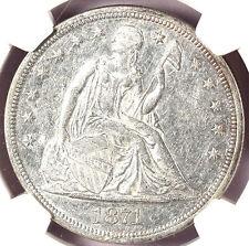 1871 $1 AU55 NGC- LIBERTY SEATED DOLLAR