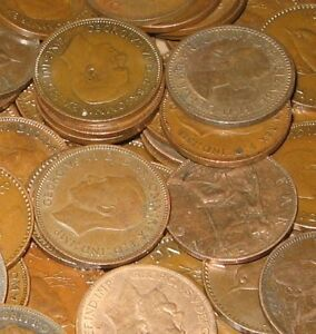 10 FARTHINGS BULK LOT OF OLD ENGLISH COINS 1900-1956
