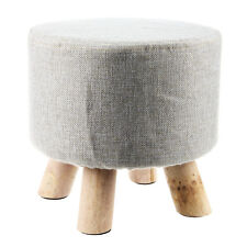 Modern Luxury Upholstered Footstool Round Pouffe Stool + Wooden Leg Pattern D2O0