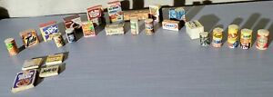 Vintage Food Cans Wood with Paper Labels Dollhouse Miniature 40's/50 Playtoy