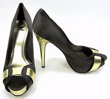 "Shiekh Shoes Seduce Sateen Peep Toe Stripe 5"" Pumps  Heels Brown/Gold Size 9"