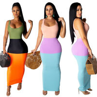 Women Scoop Neck Sleeveless Color Block Patchwork Bodycon Party Club Long Dress