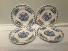 A Set of Four Mason's Fruit Basket Multi Colored Blue Salad Plates