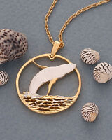 "Humpback Whale Pendant Necklace, Bermuda $2.00 hand cut coin 1""dia. ( # 643 )"