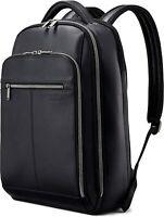 SAMSONITE Classic Leather Backpack Laptop Tablet Zip Black 126037 NWT