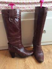 Dolcis Boutique VTG Chestnut Brown Leather Pull On Boots Almond Toe 37 4