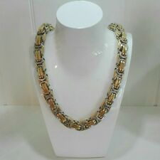 70cm / φ14mm BIZANTINO Collar Cadena Cadena Acero Inoxidable Oro Plata NUEVO