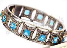 15.20ct ROSE CUT DIAMOND BLUE TOPAZ ANTIQUE VICTORIAN LOOK 925 SILVER BRACELET