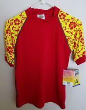 Radicool Skinz 14 Red Yellow Boys Kids Rash Guard Shirt Swimwear Hawaiian E17