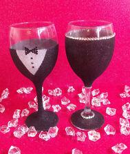 2 GROOM SUIT RHINESTONE GLITTER GLASSES WEDDING BRIDESMAID GIFT