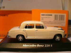 SUPERB NEW MAXICHAMPS 1/43 1956 MERCEDES-BENZ 220 S (W180 II) GREAT DETAIL NLA