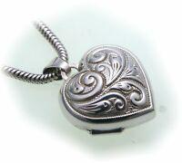 Damen Medaillon Silber 925 Herz Gravuren Anhänger aufklappen Sterlingsilber 1277