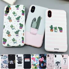 Candy Color Leaf Print Phone Case for iPhone X 6 6s 7 8 Plus XR XS Max Cactus