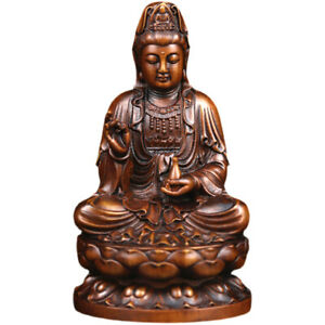 GY023 - 10 x 5.9 x 5.2 cm Carved Boxwood Figurine - Guan yin Kuan-yin Fairy