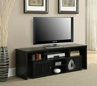 "60"" TV Stylish Stand Organizer Storage with 7 Compartments, Easy Assembly, Black"