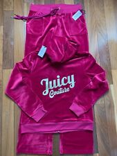 New Size 2XL Women's Juicy Couture Tracksuit Pomegranate Velour Hoodie N Pants