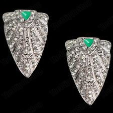 CLIP ON RETRO enamel CRYSTAL SHIELD big revival EARRINGS SILVER/GOLD FASHION