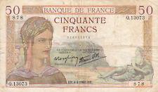 BILLET BANQUE 50 Frs CERES 04-04-1940 BR Q.13073 état voir scan
