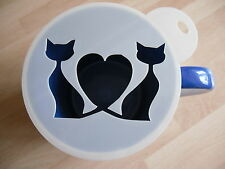 Laser cut heart cats design coffee and craft stencil