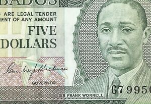 Barbados $5 Banknote ND (1973) Sign C Blackman, Sir F Worrell Portrait PK#32a