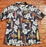 Koko Island Men's Cotton blend Hawaiian Shirt, Black Print, Size Large B6-19