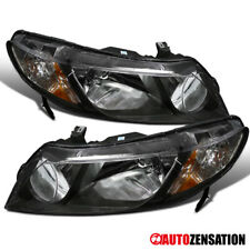 Fits 2006-2011 Honda Civic 4Dr Sedan Pair Black Headlights Lamps+Amber
