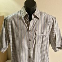 Men's Pronto Uomo Blue Short Sleeve Button Up Shirt XL NWT Gray And Blue Strip